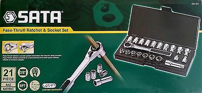 SATA professional 21pc Pass-Thru® 3/8'', metric, imperial socket set. 09134