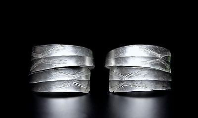 Fine Ancient Viking Silver Bracelets with Decoration 7th Century AD