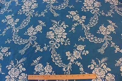 Antique Blue & White French Victorian Floral & Lace Printed HomeDec Fabric c1890