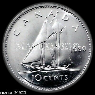 *** Rare Choice Bu 1980 Wide '0' 10 Cents Uncirculated ***