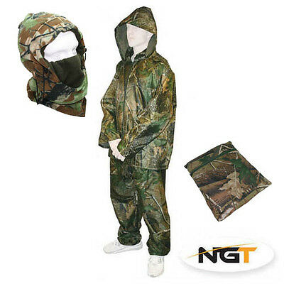 NGT Fishing Hunting Camo Waterproof Clothing Jacket Trouser Rain Suit Set+Snood