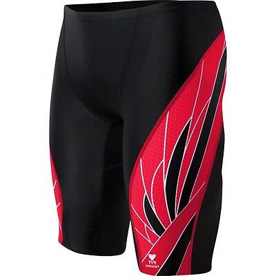 TYR Durafast Elite Swim Jammer-Size 36-Phoenix Splice Black/Red-New