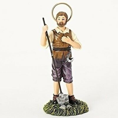Statue St Isidore Farmer 3.5 inch Painted Resin Figurine Patron Saint Catholic