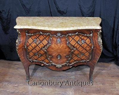 Antique French Empire Bombe Commode Chest Drawers Circa 1880