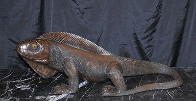 Hand Carved Large Komodo Dragon Sculpture Lizard Reptile