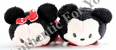 "New Authentic US Disney Mickey Minnie Mouse SET of 2 Tsum Tsum 3.5"" Mini Plushes"