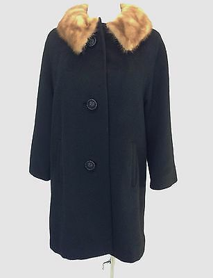1950s-1960s Vintage Forstmann Black wool trench coat with mink collar