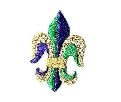 Iron On Embroidered Applique Patch Mardi Gras Fleur de lis Purple Green and Gold
