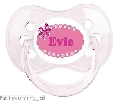 Personalised Dummy Pacifier Soother,all Teats,sizes & Colours, Pink Bow Banner