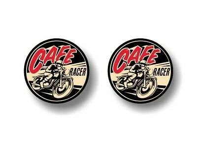 """(2) CAFE RACER Motorcycle 3"""" Vinyl Decals Triumph Engine Thumper Bike Stickers"""