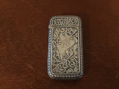 Antique Gorham Sterling Silver Match Safe Scrolling & Shield or Paper Decoration