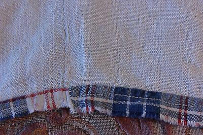 "Antique 18thC French Home Spun Hand Loomed Hemp Heavy Linen Dbl Sheet~65""LX62""W"