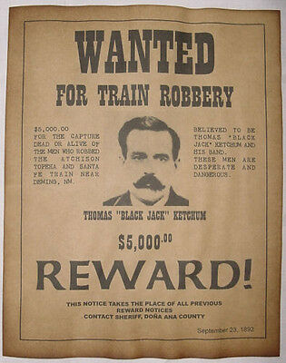 Black Jack Ketchum Wanted Poster, Western, Outlaw, Old West