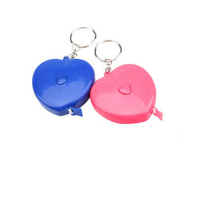 1.5M Plastic New Keychain Retractable Portable Heart-shaped Measuring Tape Ruler