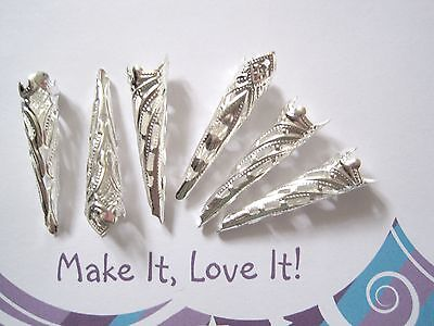 6 x SILVER PLATED ORNATE PRETTY LONG BEAD CAPS CONE 35MM X 10MM Vintage Style