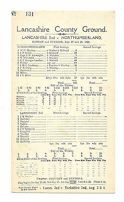 1925 - Lancashire 2nd v Northumberland, Match Scorecard.