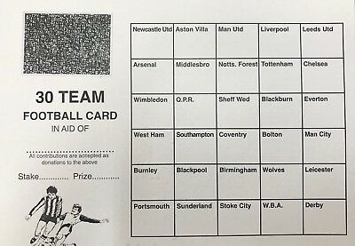 50 x 30 TEAM FOOTBALL FUNDRAISING SCRATCH CARDS GREAT QUALITY