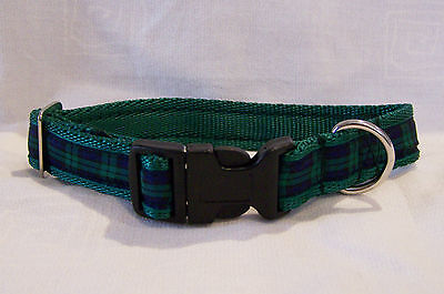 Blackwatch scottish green tartan dog collar or lead or complete set