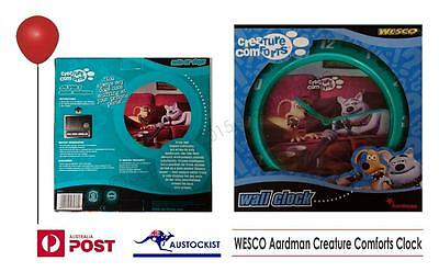 Aardman Creature Comforts Wesco Wall Clock 2004 Captain Cuddlepuss & Trixie MIB