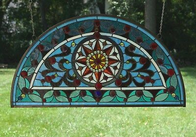 "34""L x 18""H  Half Round Tiffany Style stained glass window Jeweled Glass panel"