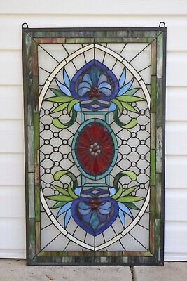 """20.5"""" x 34.5"""" Decorative Jeweled Handcrafted stained glass panel"""