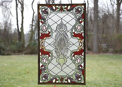 "Sold out! 21""W x 35.5""H Handcrafted Beveled stained glass window panel."