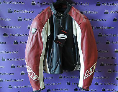 New A-Pro Paddoc Leather Motorcycle Jacket Black Red Men's Size L