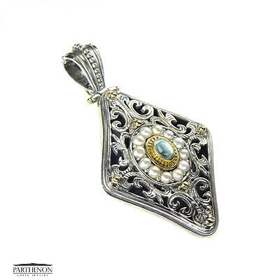 Gerochristo: Handmade Byzantine Large Pendant Silver and Gold