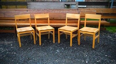 Solid Wooden Chapel Chairs Set of 4 Dining Vintage Reclaimed Church Seats