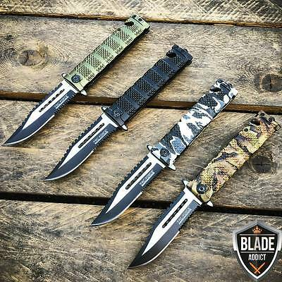 4PC Tac-Force Spring Assisted Open Sawback Bowie Rescue Tactical Pocket Knife