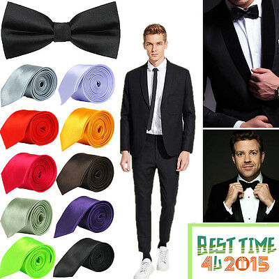 New Satin Solid Plain Mens Tie Wedding Classic Business Skinny Necktie Men Ties