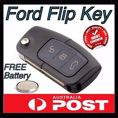 FORD FLIP 3 BUTTON REMOTE FLAT BLANK KEY SHELL with BATTERY, Territory BA Falcon