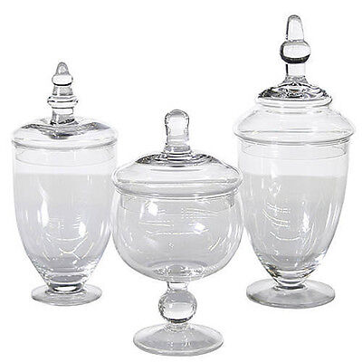 3 Glass Candy Buffet Jars Apothecary Wedding Shower Birthday Reception NEW