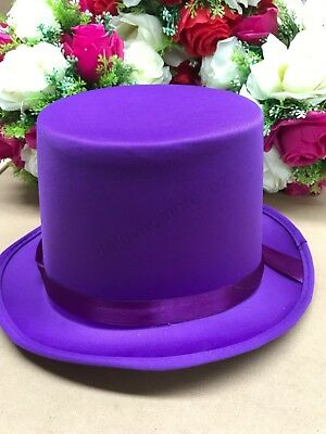Purple Velvet Top Hat Mad Hatter Party Costume Magician Fedora Formal Lincoln