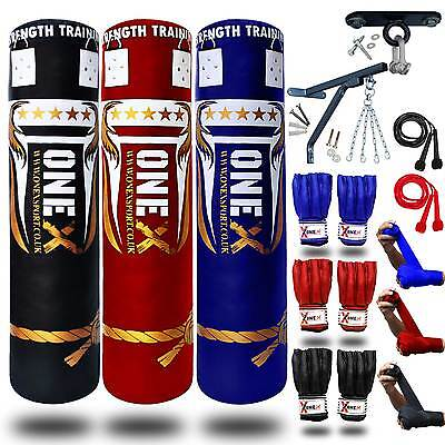 3ft/4ft/5ft Filled Heavy Punch Bag Multi Colors Set,Chain,Bracket,Gloves,MMA