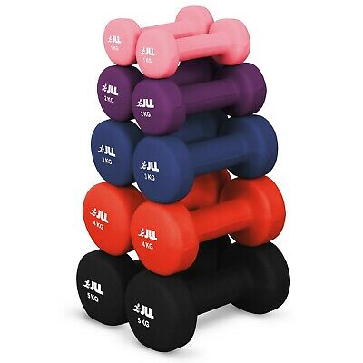 JLL® Neoprene Coated Steel Dumbbells Aerobic Free Weights Fitness (Pairs) 1-5kg