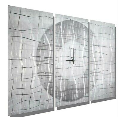 Large Modern White & Silver Metal Abstract Wall Clock - Contemporary Vibrations