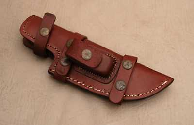 Custom Handmade Horizontal Left Hand Tracker Knife Leather Sheath Brown C14