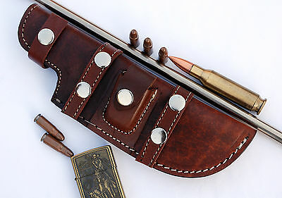 Custom Handmade Horizontal Left Hand Tracker Knife Leather Sheath  Brown S9