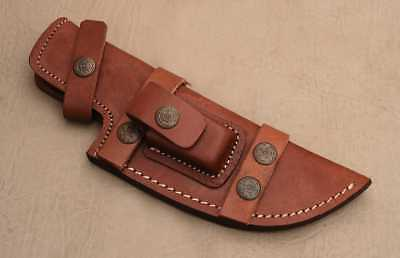 Custom Handmade Horizontal Left Hand Tracker Knife Leather Sheath Brown C15