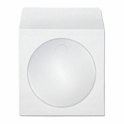 500 Premium White CD DVD R Disc Paper Sleeve Envelope Clear Window Flap