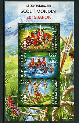Central African Republic 2015 MNH World Scouting 23rd Jamboree Japan 3v M/S