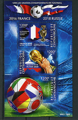Central African Republic 2015 MNH Football France 2016 Russia 2018 3v M/S Soccer