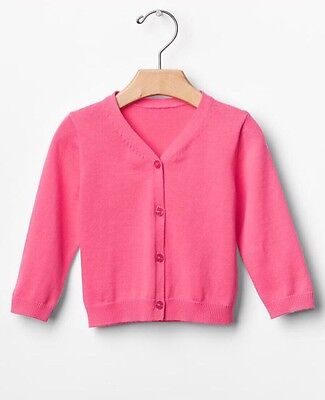 GAP Baby Girls NWT 0-3 Months Pink Cable Knit Peplum Cardigan Sweater