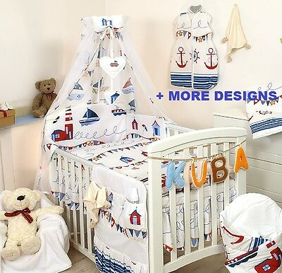 Marine Baby Bedding Set Cot Bed Quilt Duvet Pillow Case Cover Per More