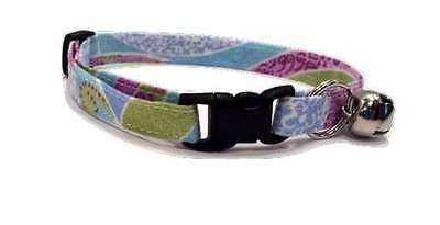 Paisley Cat Collar purple blue and green swirl soft Fabric pastel spring kitten