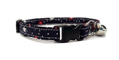 Patriotic stars Kitten or Cat Collar Adjustable Red White and Blue USA Memorial