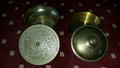 2 Vintage Solid Brass Bowls With Lids