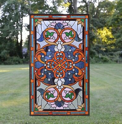 """20.5""""W x 34.5""""H Handcrafted Jeweled stained glass window panel."""