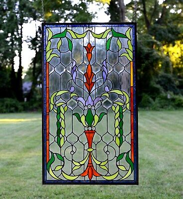 "Handcrafted Jeweled stained glass window panel. 20.5""W x 34.75""H"